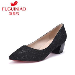 富贵鸟2017春季新款时尚女单鞋超纤水钻粗跟女鞋