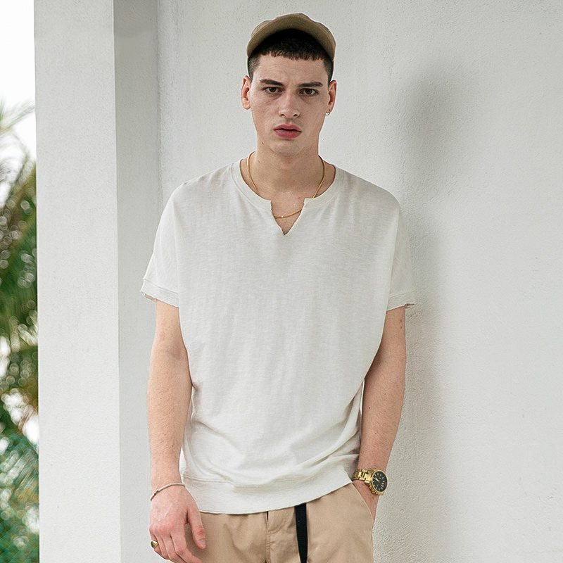 viishow2017男士短袖t恤学生日系v领宽松半截袖潮牌时尚体恤衫男