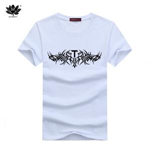 EASZin逸纯印品 男装短袖T恤  韩版圆领T图腾印花男士大码加肥T恤衫 直同版