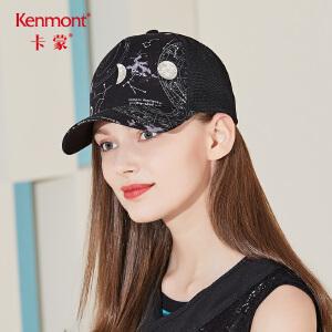 卡蒙时尚韩国潮棒球帽女防晒透气街头嘻哈帽可调节图案春夏鸭舌帽3490