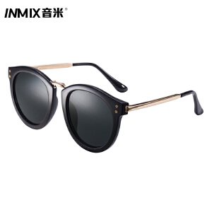 音米新品圆框金属墨镜大框太阳镜女潮司机驾驶镜复古眼镜男 1382