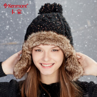 保暖针织帽女士冬季帽子滑雪帽加厚毛线帽时尚仿皮草秋冬天护耳帽 9078