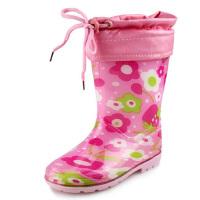 海洋鹿儿童雨鞋男童女童雨靴宝宝水鞋加绒小孩防水鞋小童防滑胶鞋