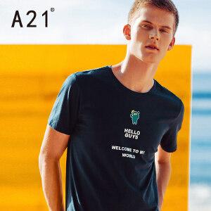 以纯线上品牌a21 2017夏季新款t恤男潮流街头休闲印花男装短袖上衣 170/84A/M