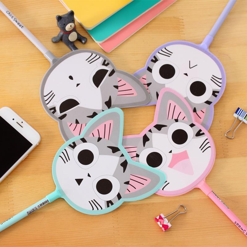 儿童礼物卡通猫咪扇子造型中性笔可爱创意韩国文具水笔小学生奖品