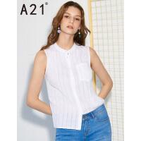 以纯线上品牌a21 2017夏装新款衬衫女简约百搭小清新纯棉无袖衬衣