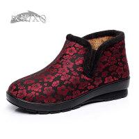 欣清冬季新款老北京布鞋女棉鞋 时尚保暖妈妈女式短靴女平底及踝靴奶奶鞋
