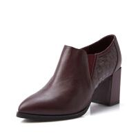 富贵鸟女鞋 秋季新款裸靴尖头深口单鞋女高跟鞋粗跟女皮鞋