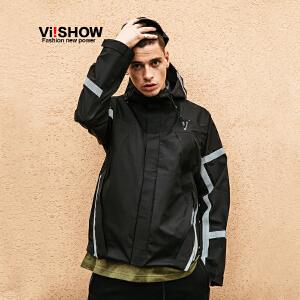 VIISHOW2017秋装新品连帽夹克衫男袖子后背印花男士外套防风夹克