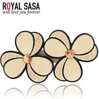 皇家莎莎Royalsasa韩版头饰品发卡顶夹盘发夹人造水晶横夹发饰-茵花曼朵