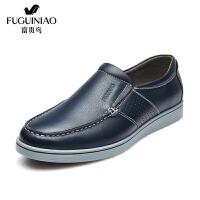 富贵鸟 头层牛皮男鞋 日常休闲百搭防滑透气套脚皮鞋