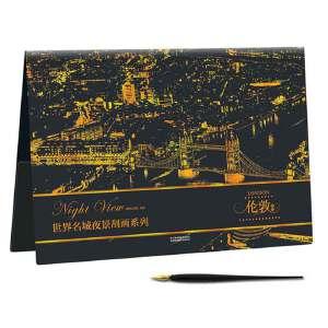 世界名城夜景刮画:伦敦夜景
