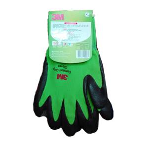 3M   舒适型防滑耐磨手套 劳保防护手套 绿色 XL号