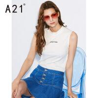 以纯线上品牌a21 2017夏装新修身字母无袖刺绣T恤女新款2017夏季时尚街头上衣女装体恤