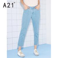 以纯线上品牌a21 直筒牛仔裤女2017新款休闲九分裤个性学生欧美夏季薄款潮浅色