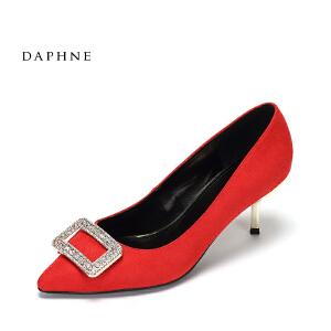 Daphne/达芙妮2017 舒适浅口细跟单鞋 性感尖头方扣水钻高跟鞋