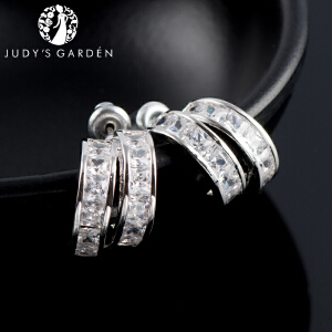 【茱蒂的花园】创意半月耳圈款耳钉满钻镶水晶钻女士时尚耳环耳坠线配饰品A级合成品锆石送女友老婆情人节礼物
