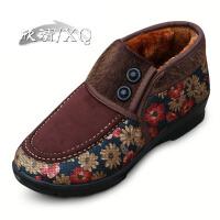 欣清冬季新款老北京布鞋女棉鞋加绒保暖妈妈鞋短靴中老年雪地靴女
