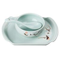 宝优妮手工陶瓷餐具套装家用米饭碗高档釉色碗碟组合装中式餐盘DQ9044-1