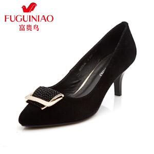 富贵鸟时尚女士单鞋头层羊绒鞋面尖头套脚酒杯跟女鞋高跟工作鞋