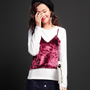 【9.21超级品牌日】七格格2017新款光泽感丝绒吊带假两件长袖圆领T恤女M124