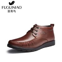 富贵鸟冬季新款男鞋 男士休闲鞋系带高帮鞋子短靴加绒保暖棉鞋