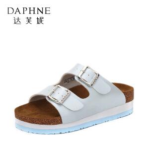 Daphne/达芙妮2017夏新学生舒适厚底拖鞋 个性撞色皮带扣露趾女鞋