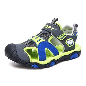 史努比童鞋男童包头凉鞋夏季新款儿童凉鞋防滑中小童沙滩凉鞋