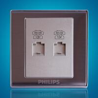 飞利浦墙壁面板86型香槟金系列Q8 802-4TU双电话插座