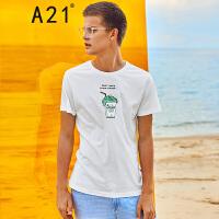以纯线上品牌A21 2017夏装新款青年休闲T恤趣味印花圆领短袖t恤男