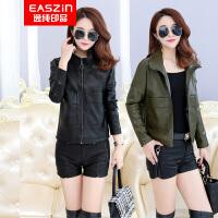 逸纯印品(EASZin)女式皮夹克 2016仿真水洗皮衣韩版修身西装领皮甲克女装外套