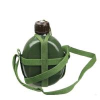 老式87铝制户外携带方便水壶加厚大容量1.2L 军绿色老式水壶 户外军用水壶 军训水壶