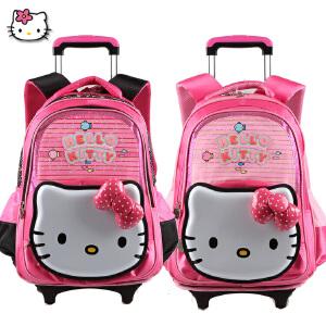 Hello Kitty 凯蒂猫小学生拉杆可拆卸带防雨罩女童卡通拉杆书包TR-HK3093