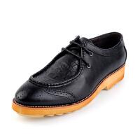 2015四季款英伦时尚潮流风潮男巴洛克皮鞋 布洛克雕花男士系带低帮休闲真皮皮鞋 时尚增高鞋