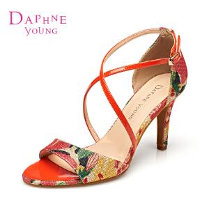 Daphne/达芙妮 罗马风超高细跟印花优雅女凉鞋1515303041
