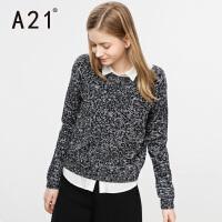 以纯A21女装圆领长袖宽松套头线衫女 春季青春时尚休闲百搭学院风毛衣