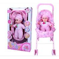 乐吉儿芭比娃娃 仿真哭声喝奶声 娃娃手推车带雨篷 婴儿学步推车