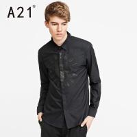 以纯A21时尚翻领长袖衬衫男 个性字母印花男士衬衣休闲百搭青年衬衫男