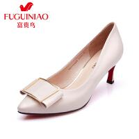 富贵鸟秋季新款女鞋 单鞋工作鞋女黑色 尖头高跟鞋细跟 浅口单女鞋