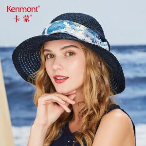 卡蒙防晒系带度假草帽凉帽女夏天遮阳帽海边出游沙滩帽户外大沿帽3499