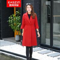 逸纯印品(EASZin)双面呢羊毛大衣 高端女装欧美气质修身西装领 中长款双面羊毛呢大衣