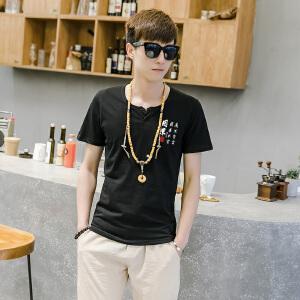 EASZin逸纯印品 男式短袖T恤 2017夏季棉麻新款中国风因果印花体恤衫男