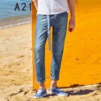 以纯线上品牌a21 2017夏装新款牛仔裤男时尚个性低腰小脚牛仔长裤