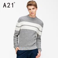 以纯A21男装新款套头毛衣男 大学生毛线衣撞色条纹圆领长袖潮流针织衫
