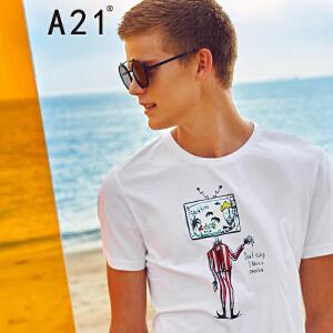以纯线上品牌a21 2017夏装T恤男舒适休闲趣味印花修身圆领短袖上衣