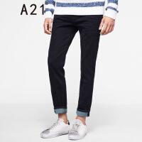 以纯A21新款春季裤子男韩版男士黑色长裤 牛仔裤男小脚青年修身型潮