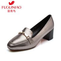 富贵鸟  秋季新品牛皮金属扣饰方头中跟女鞋粗跟单鞋