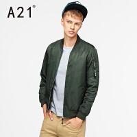 以纯A21秋装外套男修身字母印花纯色百搭外套街头时尚男士夹克男潮