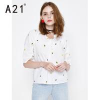 以纯线上品牌a21 女装夏装2017新款潮白色衬衫女印花宽松上衣百搭绑带休闲衬衣