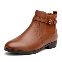 富贵鸟新款 牛皮小尖头舒适粗跟侧拉链女短靴女鞋子金属扣装饰